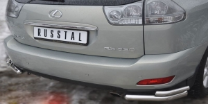 Lexus RX330 Защита заднего бампера уголки d63/42 LRZ-000391